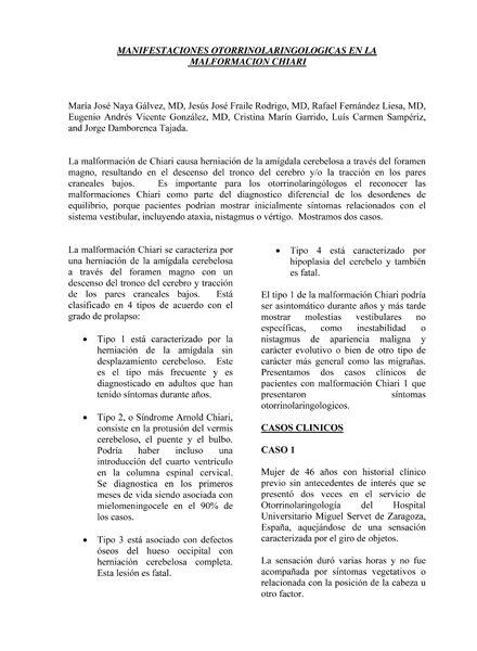 Portada documento manifestaciones otorrinolaringologicas en la malformacion chiari
