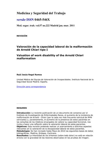Portada documento valoracion capacidad laboral Chiari