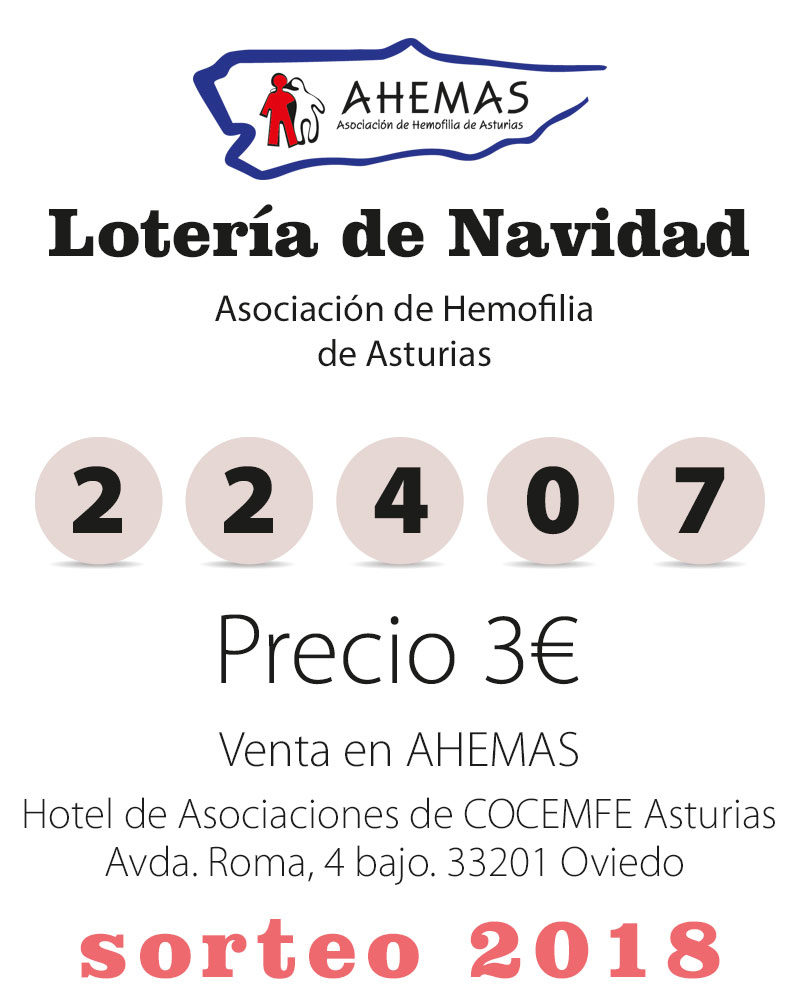 Lotería de Navidad AHEMAS Nº 22407