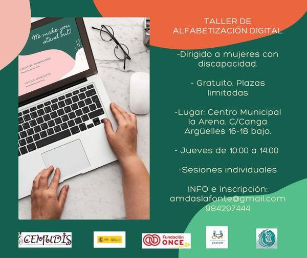 Cartel promocional del taller de alfabetización