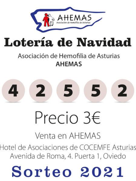 Número de lotería de Navidad 42552 de hemofilia Asturias
